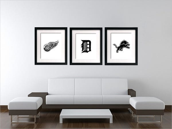 Detroit Sports Logos Wall Art