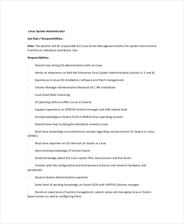 Linux System Administrator Resume Resume For Your Job Application