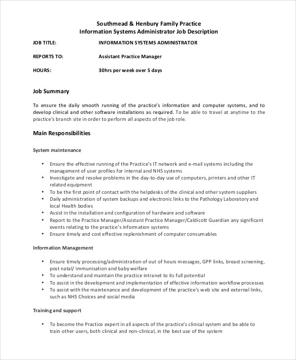 System Administrator Job Description  Free Sample Example Format