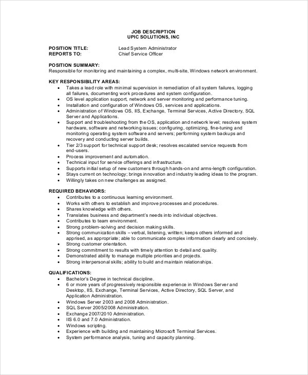 System administrator job description free sample for Example of a job description template