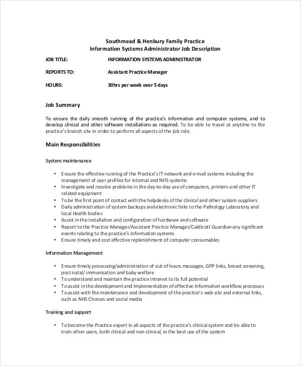 IT System Administrator Job Description