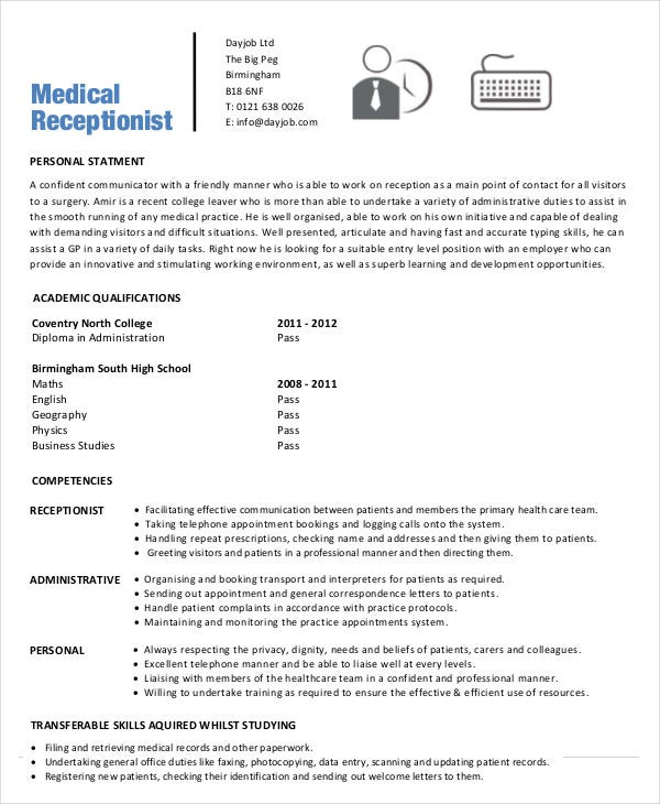 Medical Receptionist Resume Template - 5+ Free Sample, Example ...