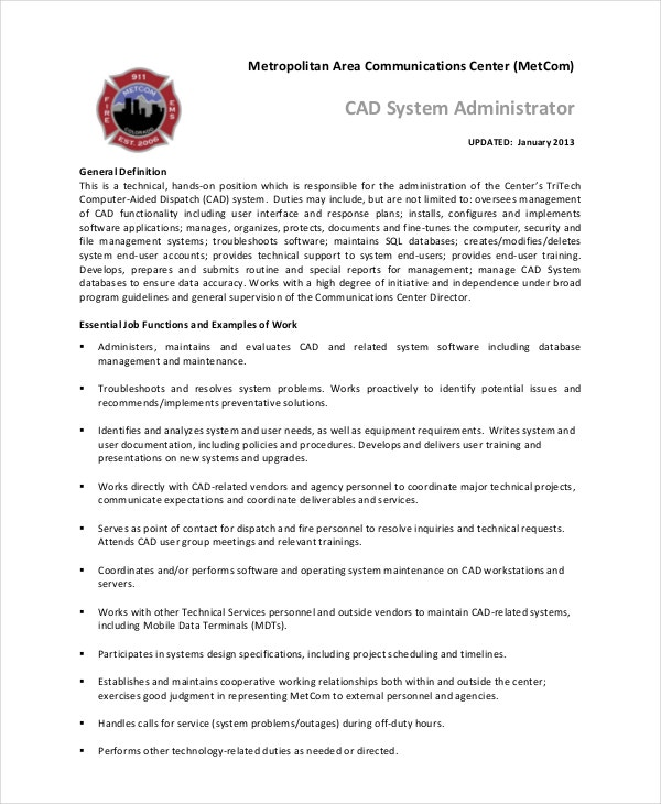 System Administrator Job Description  Free Sample Example