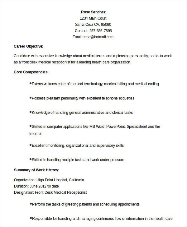 Beau Front Desk Medical Receptionist Resume