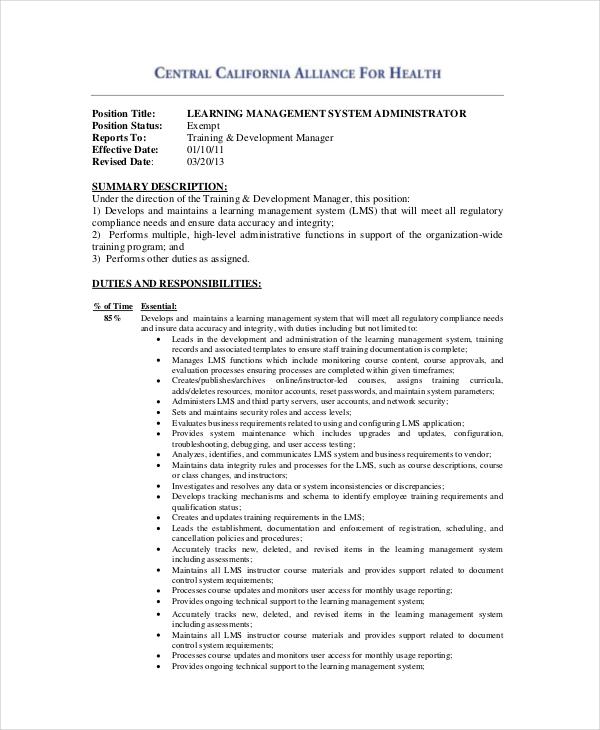 10+ System Administrator Job Description Templates - PDF,DOC | Free ...