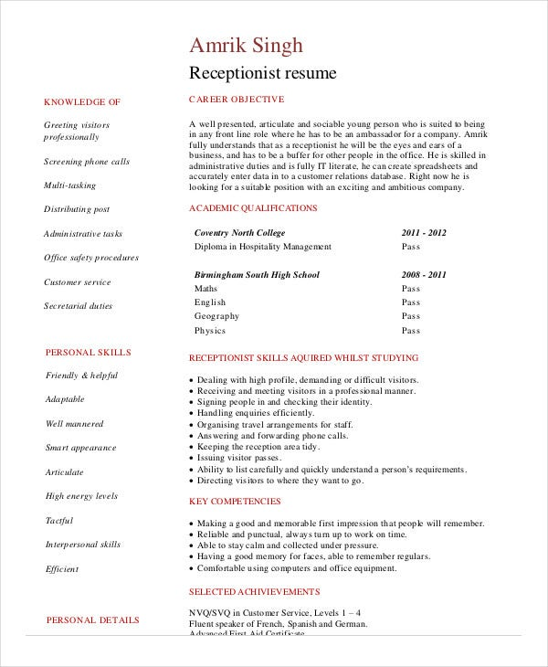 Receptionist Resume Template      Free Word  PDF Document Download     Receptionist Resume Objective Vet Receptionist Resume Cover Letter
