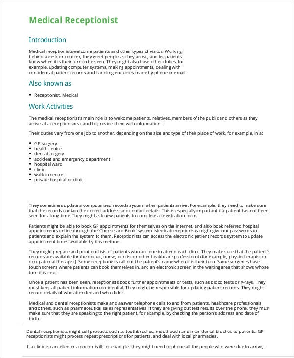 Medical Receptionist Resume Template 5 Free Sample Example – Medical Receptionist Job Description
