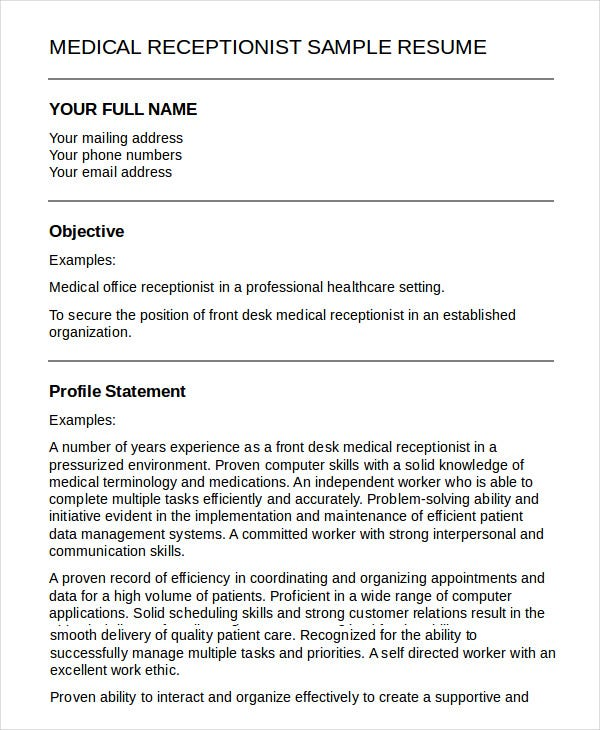 Medical Receptionist Resume Template   Free Sample Example