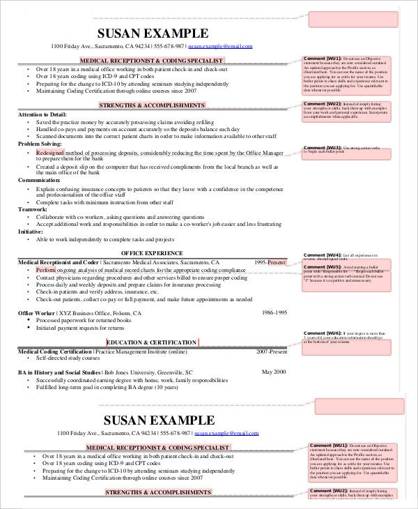 medical receptionist resume templates pdf doc free premium - Sample Receptionist Resume Doc