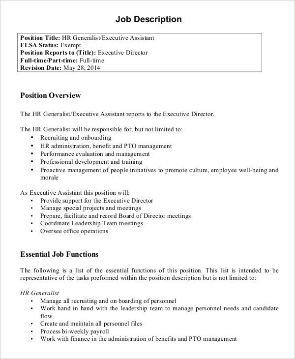Hr Assistant Job Description - 10+ Free Word, Pdf Documents