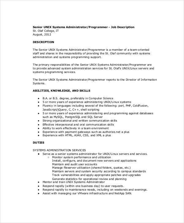 Unix System Administrator Job Description