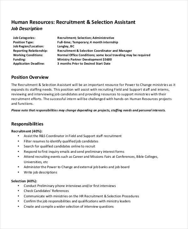Hr Recruitment Assistant Job Description
