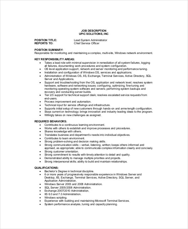 System Administrator Job Description   Free  Word