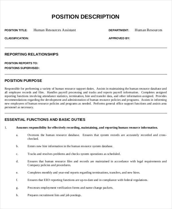 Hr Assistant Job Description   Free Word Pdf Documents