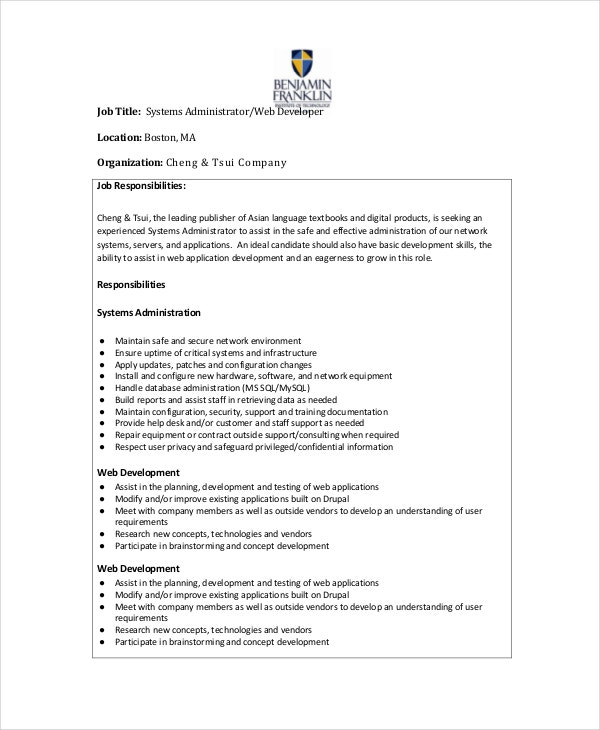 Web System Administrator Job Description