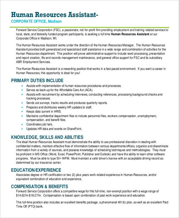 Hr assistant job description 10 free word pdf documents download free premium templates - Office manager assistant job description ...