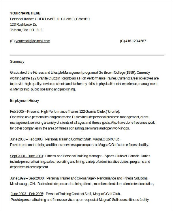 personal trainer resume example 5 free samples examples format - Training Resume
