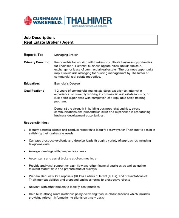 real estate job description pacqco – Word Job Description Template