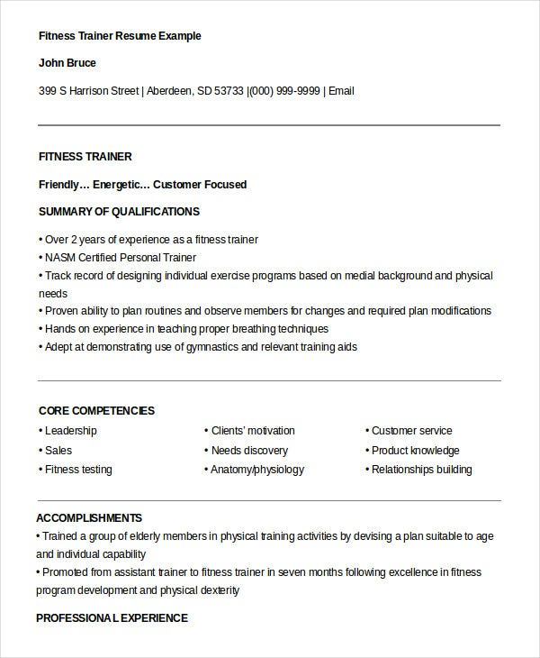Fitness Personal Trainer Resume Template  Trainer Resume