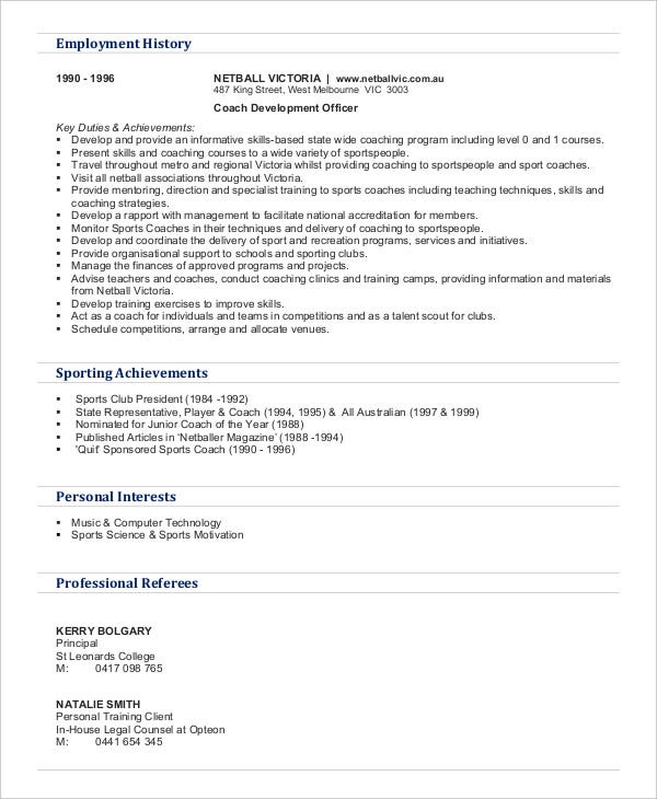 example-gym-personal-trainer-resume