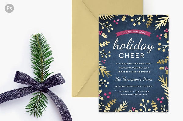 Gold Design Holiday Party Invitation