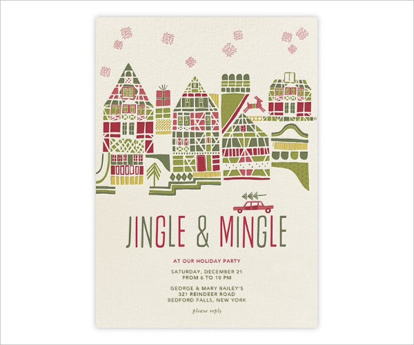 Holiday Town Party Invitation Template