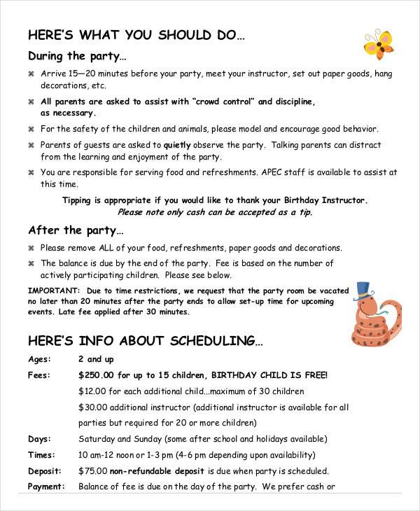 birthday party event program template