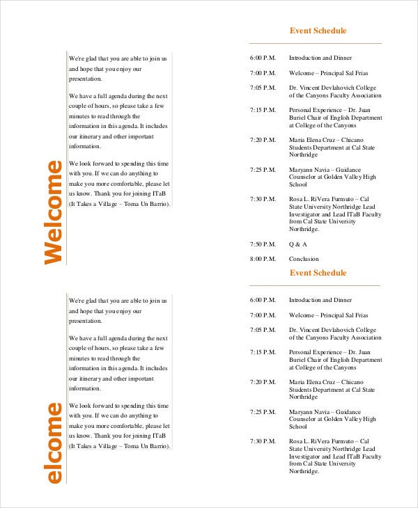 Event Program Template - 11+ Free Sample, Example, Format | Free ...