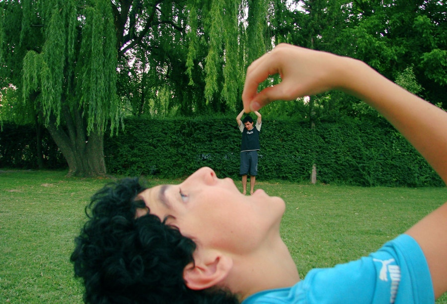 Forced Perspective Photography in Garden