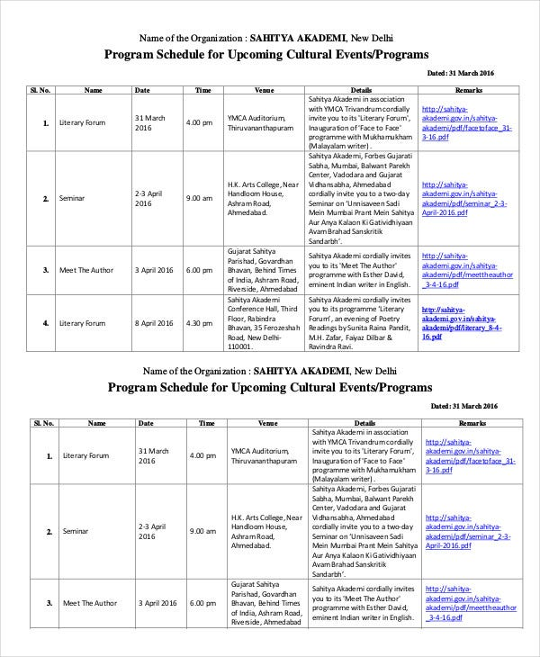 program schedule template
