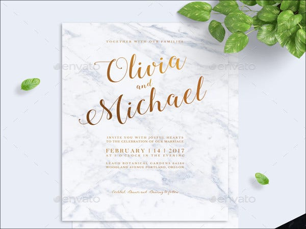 modern marbel wedding invitation