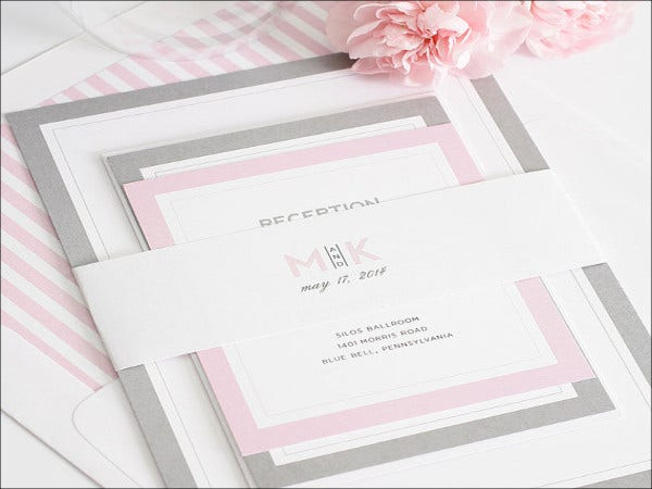 modern initials wedding invitation