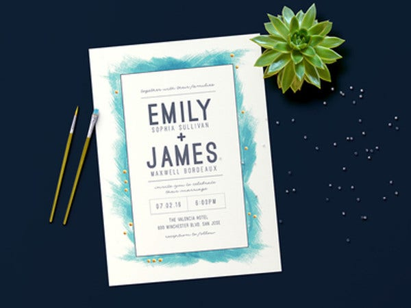 modern feathered wedding invitation