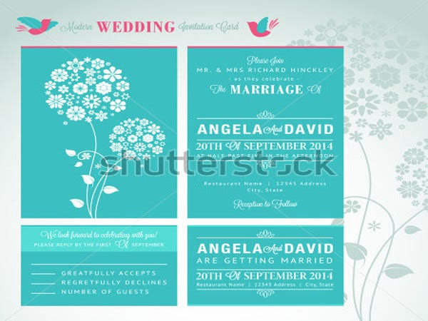 modern wedding invitation card set