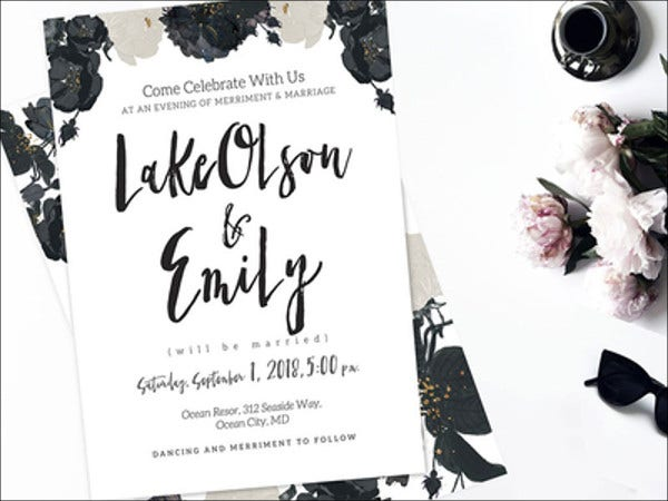 modern wedding invitation made with skylar font
