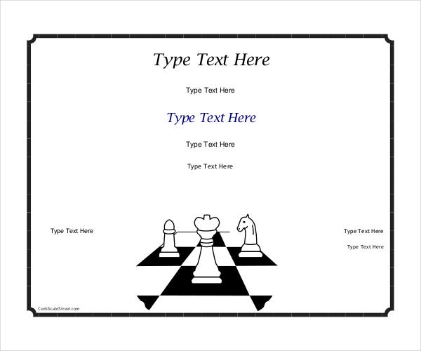 chess award certifaicate template