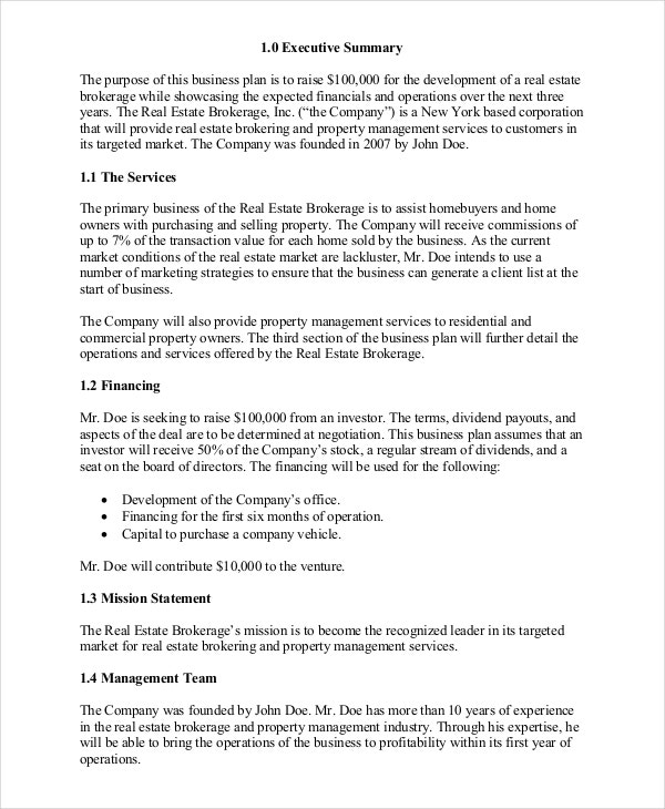 Real estate business plan 11 free pdf word documemts download real estate brokerage business plan accmission