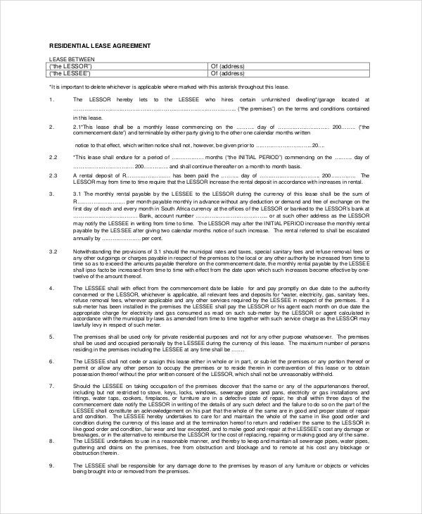 basic residential lease agreement example