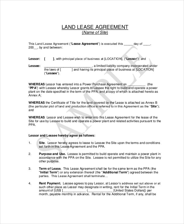 Basic lease agreement example 12 free word pdf for Land rental contract template