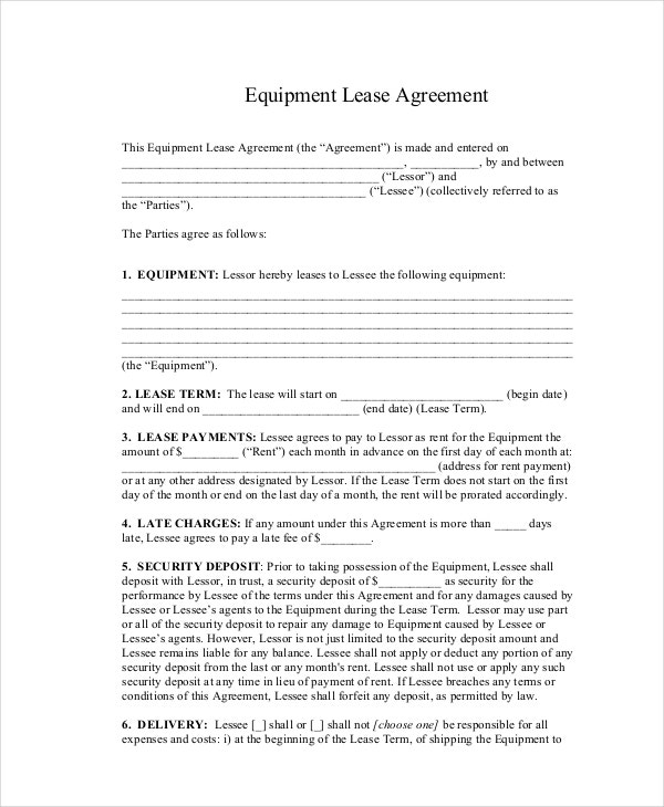basic equipment lease agreement - Simple Equipment Rental Agreement Template Free