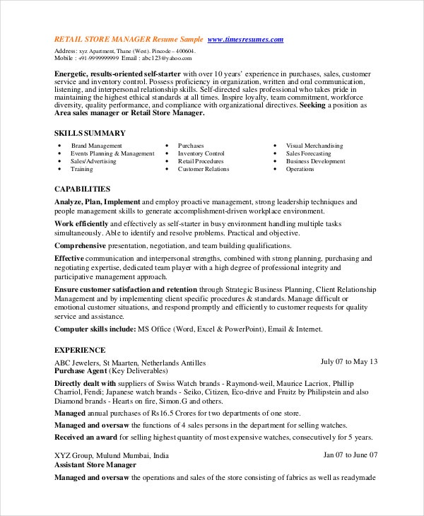 Retail Resume Template Retail Store Manager Resume Template 8 – Retail Resume Example