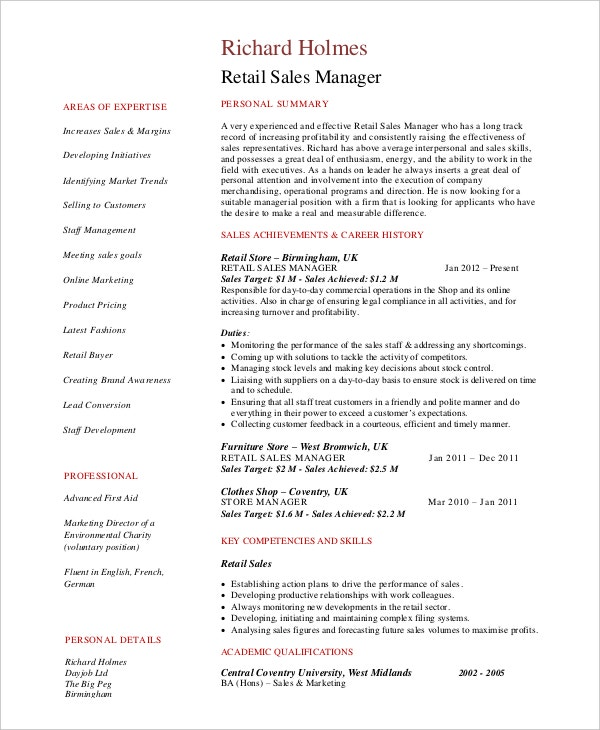 Retail Sales Manager Resume In PDF  Retail Manager Resume