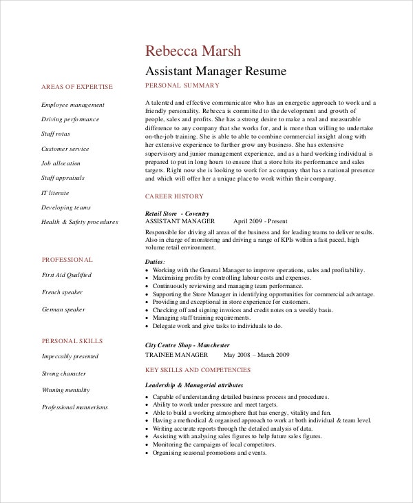 Food And Restaurant Resume Formatting Assistant Manager. Sample Cv
