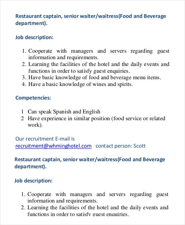 10 waiter job description templates pdf doc free premium