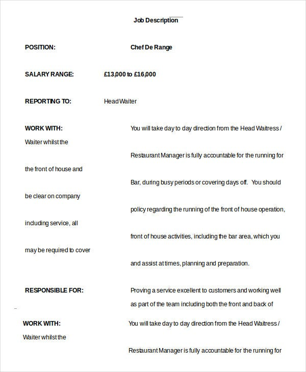 Waiter Job Description Template   Free Sample Example Format