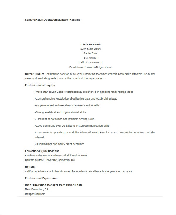 retail operations manager resume sample
