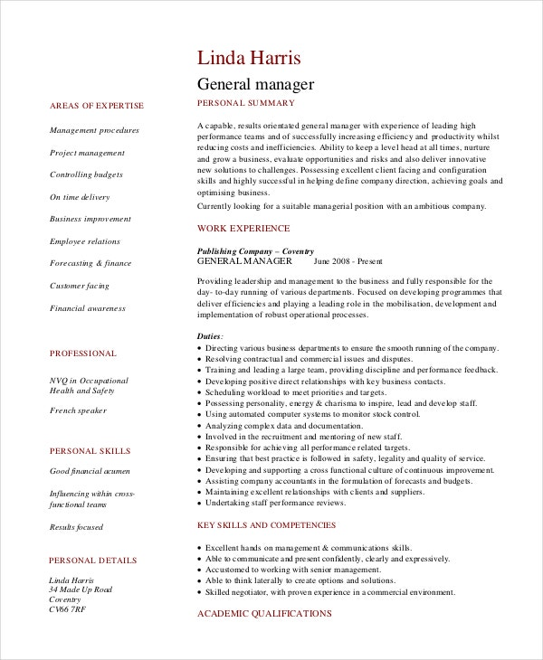 8  retail manager resumes