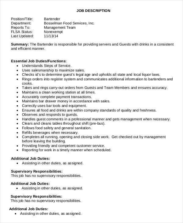 Waiter Job Description | 10 Waiter Job Description Templates Pdf Doc Free Premium