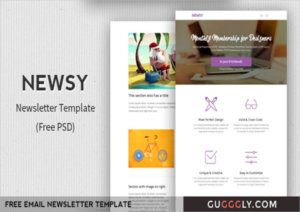 free newsletter psd template