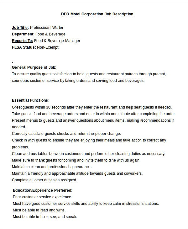 professional waiter job description template in word. Resume Example. Resume CV Cover Letter
